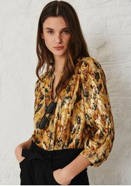 Ba&sh Gaby Silk Mix Blouse - Ochre