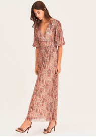 Ba&sh Athena Long Printed Dress - Red
