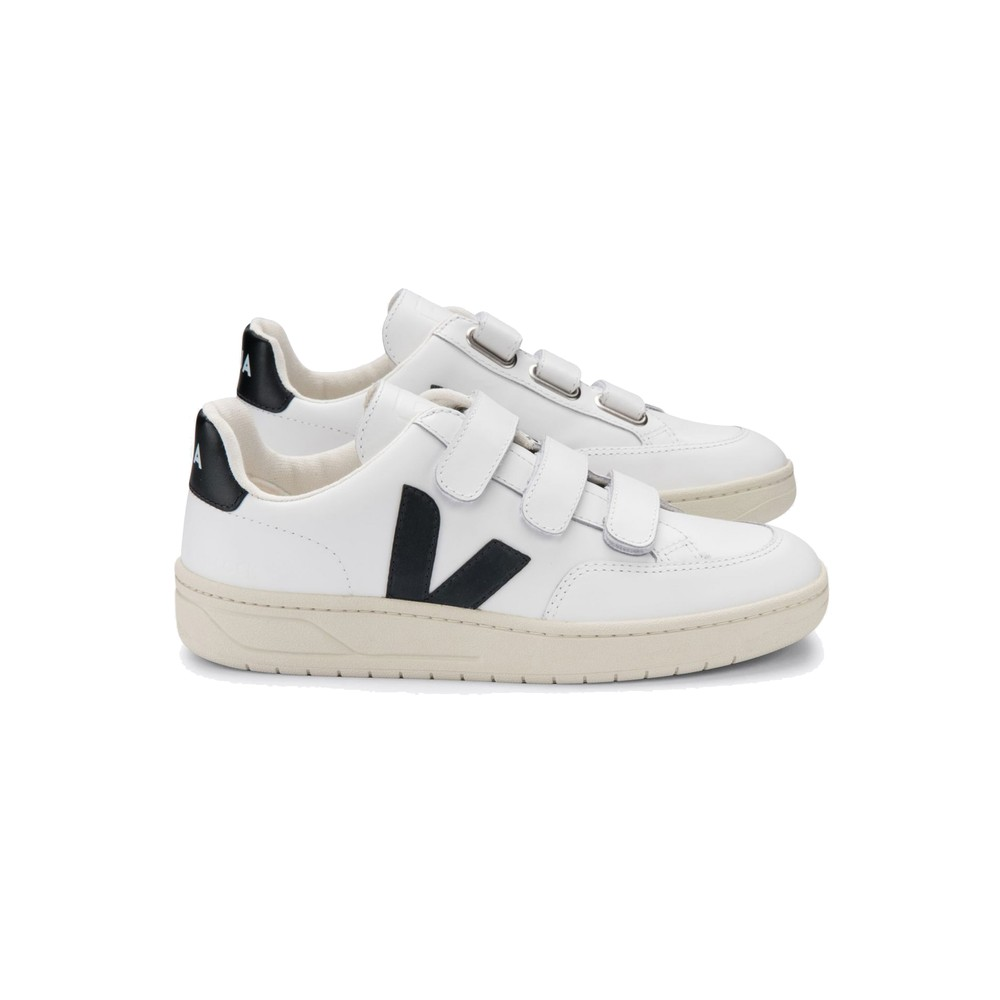 V- Lock Leather Trainers - Extra White & Black