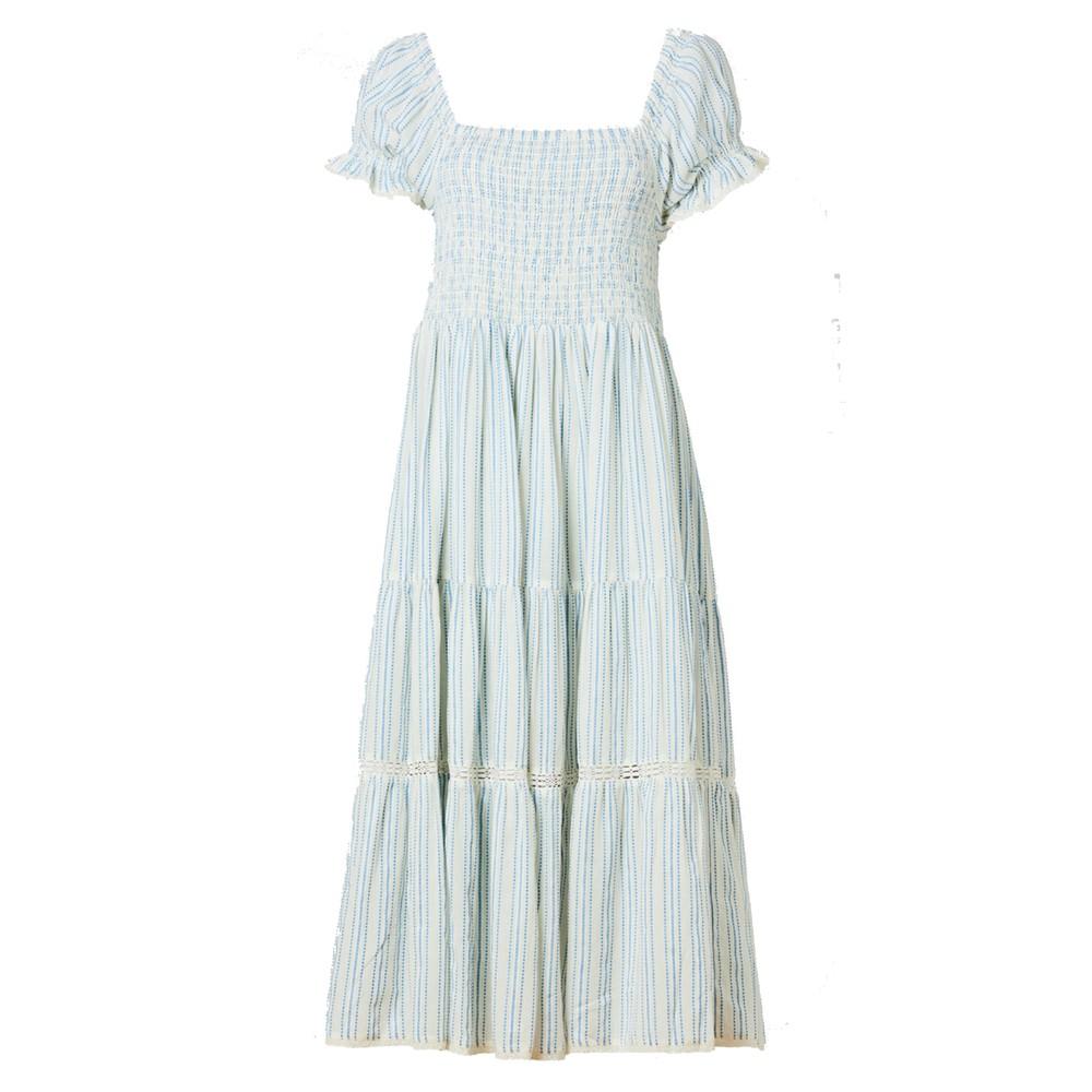 Rae Cotton Sundress - Ecru & Blue