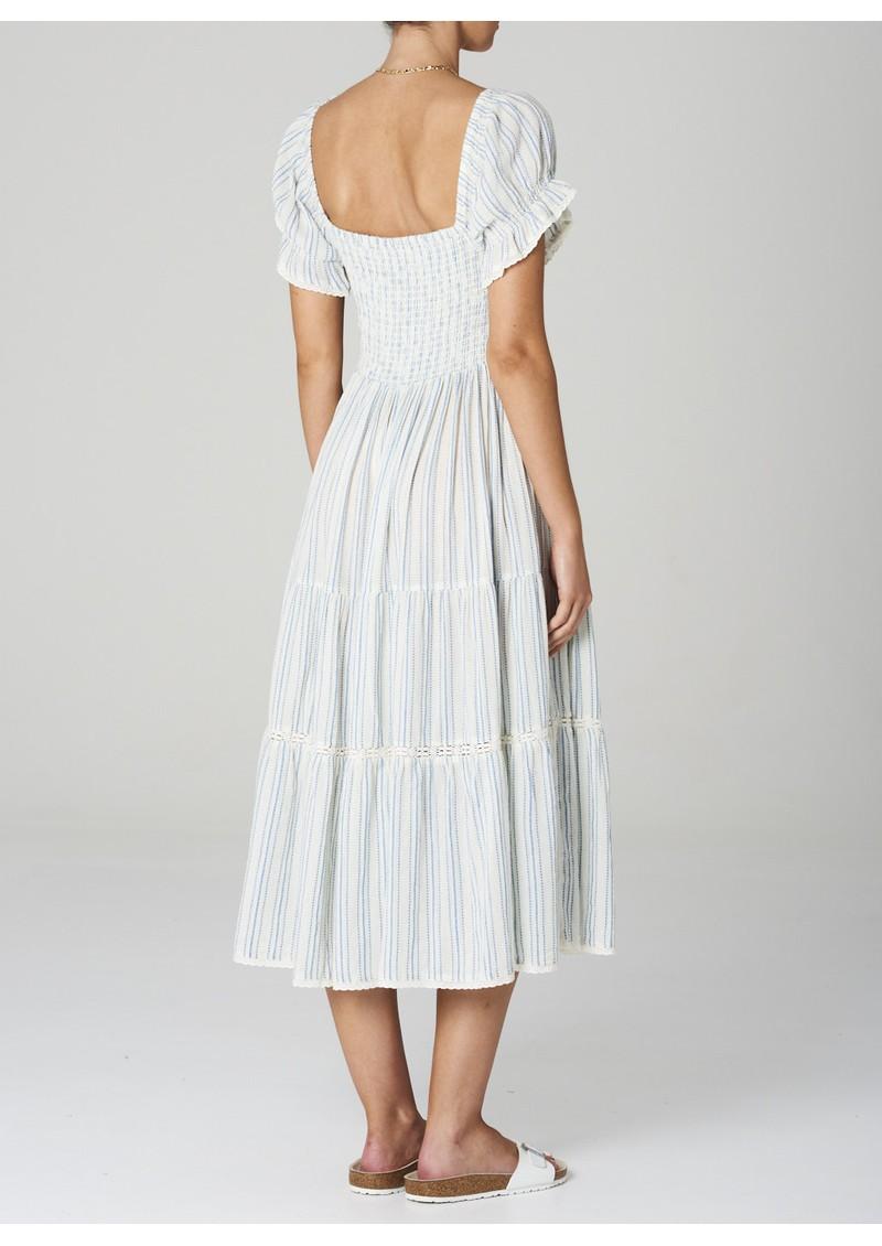 M.A.B.E Rae Cotton Sundress - Ecru & Blue main image