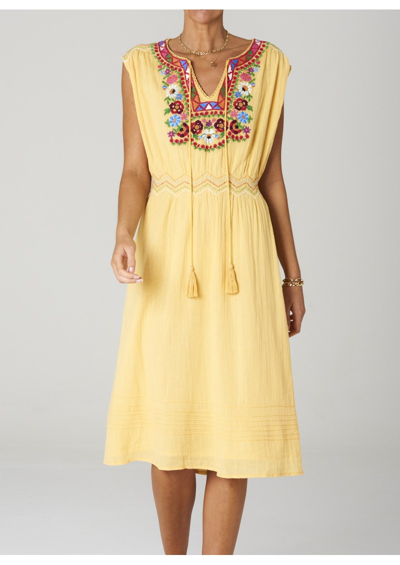M.A.B.E Rosa Embroidered Cotton Dress - Yellow main image