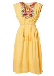 M.A.B.E Rosa Embroidered Cotton Dress - Yellow