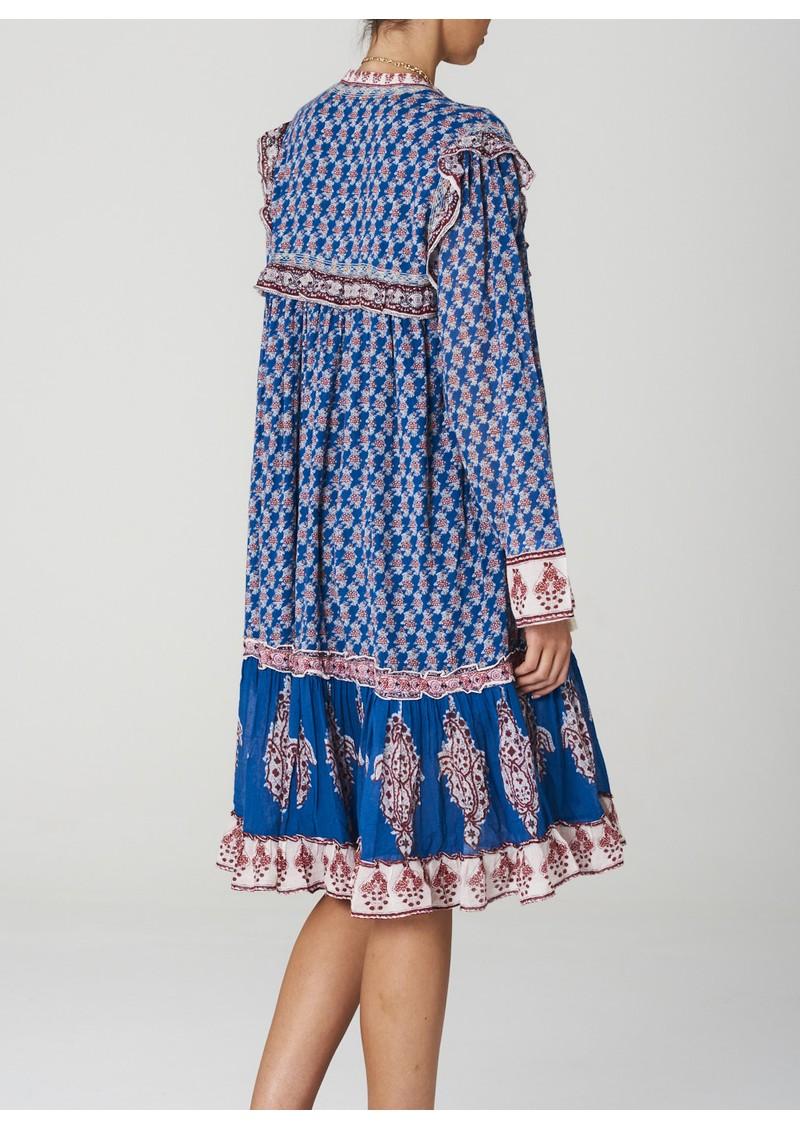 M.A.B.E Madi Midi Printed Dress - Indigo main image