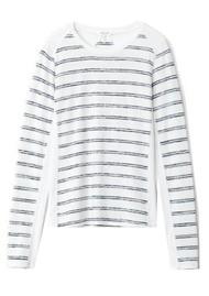 RAG & BONE The Knit Summer Stripe Long Sleeve Top - White & Navy