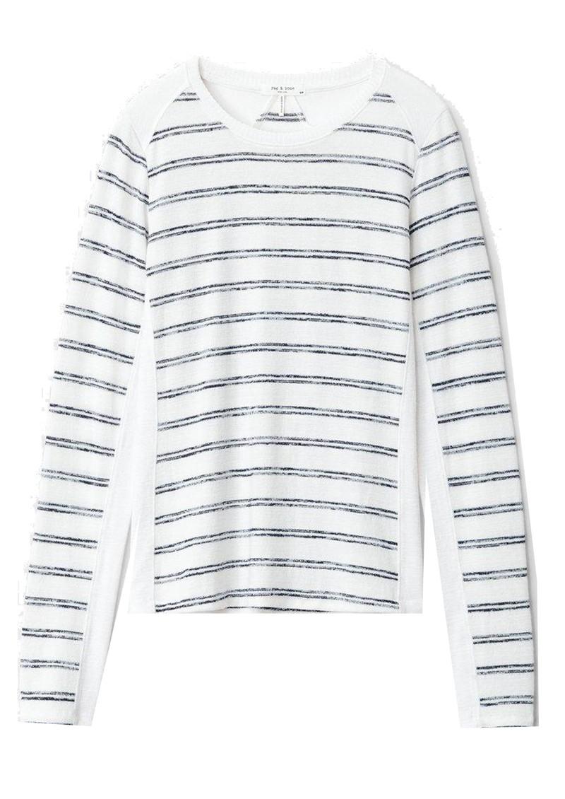 RAG & BONE The Knit Summer Stripe Long Sleeve Top - White & Navy main image