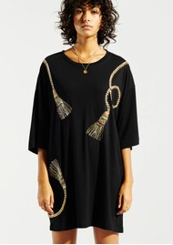 HAYLEY MENZIES Tassels Beaded Pima Cotton T-Shirt Dress - Black