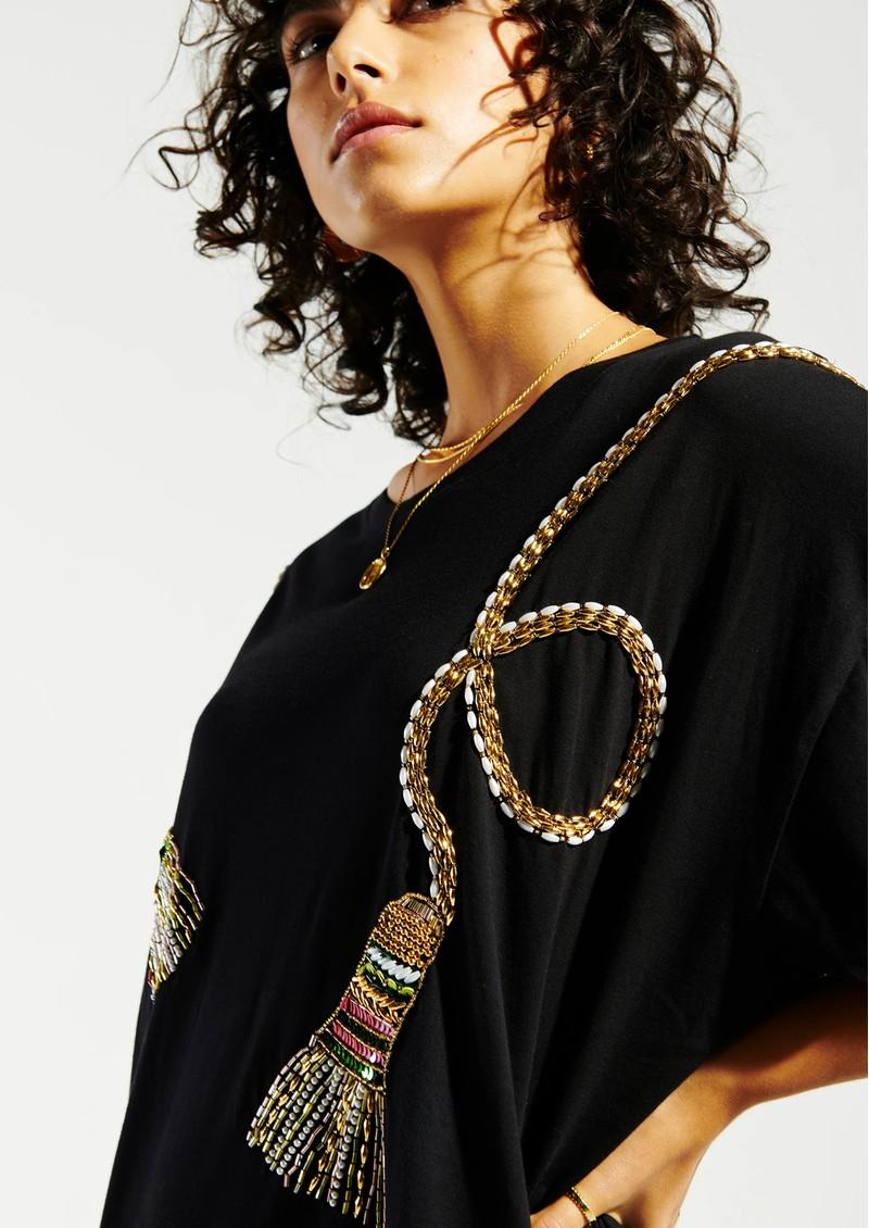 HAYLEY MENZIES Tassels Beaded Pima Cotton T-Shirt Dress - Black main image