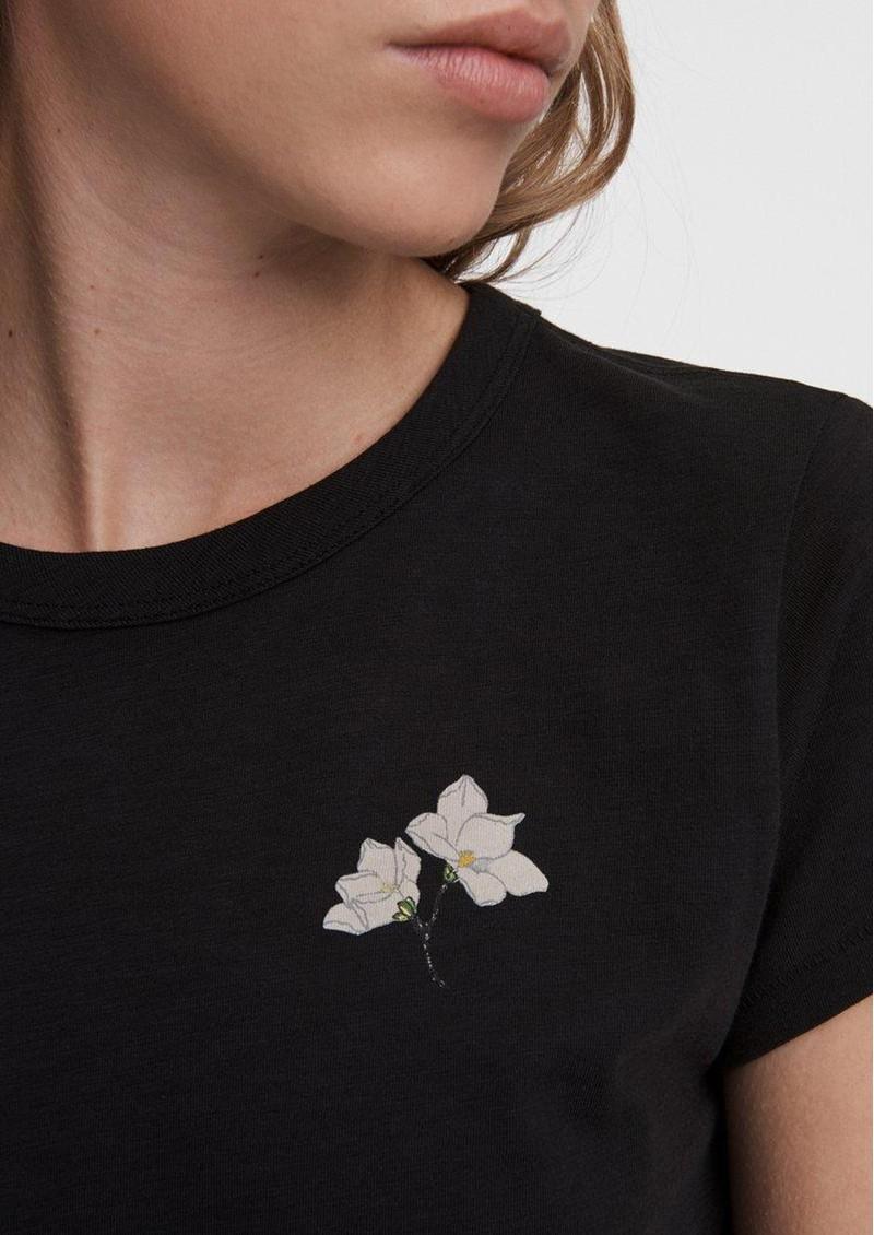RAG & BONE Lily Organic Cotton Flower Tee - Black main image