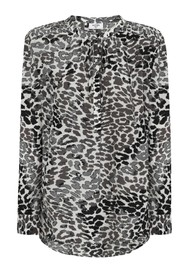 Mercy Delta Stowe Leopard Ombre Silk Blouse - Monochrome