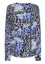 Mercy Delta Hampton Leopard Ombre Silk Blouse - Azure