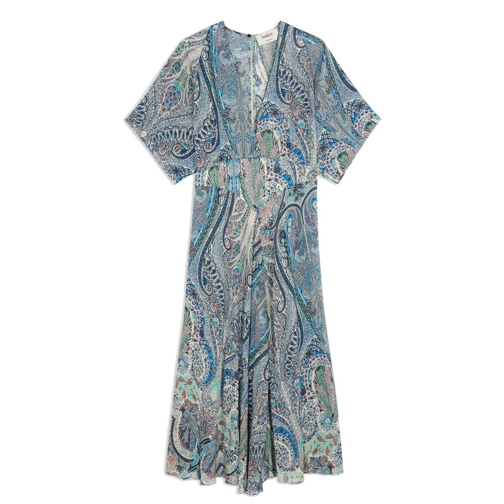 Bee Printed Maxi Dress - Blue