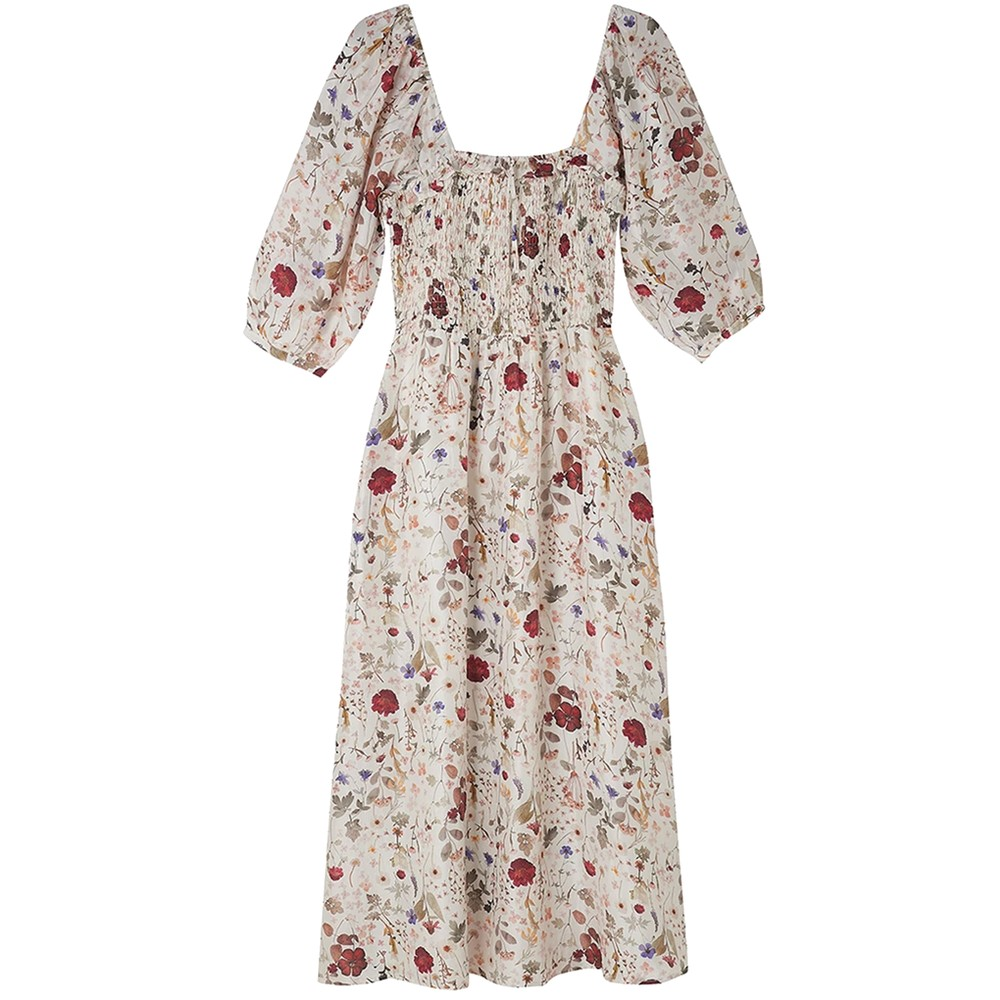 Matilda Silk Dress - Floral Ivory