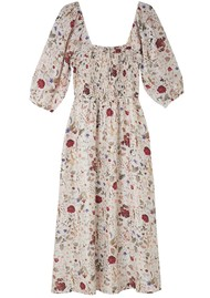 Lily and Lionel Matilda Silk Dress - Floral Ivory