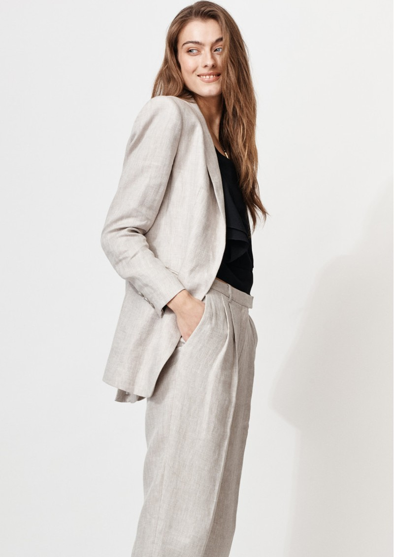 MAYLA Gray Linen Blazer - Salt main image