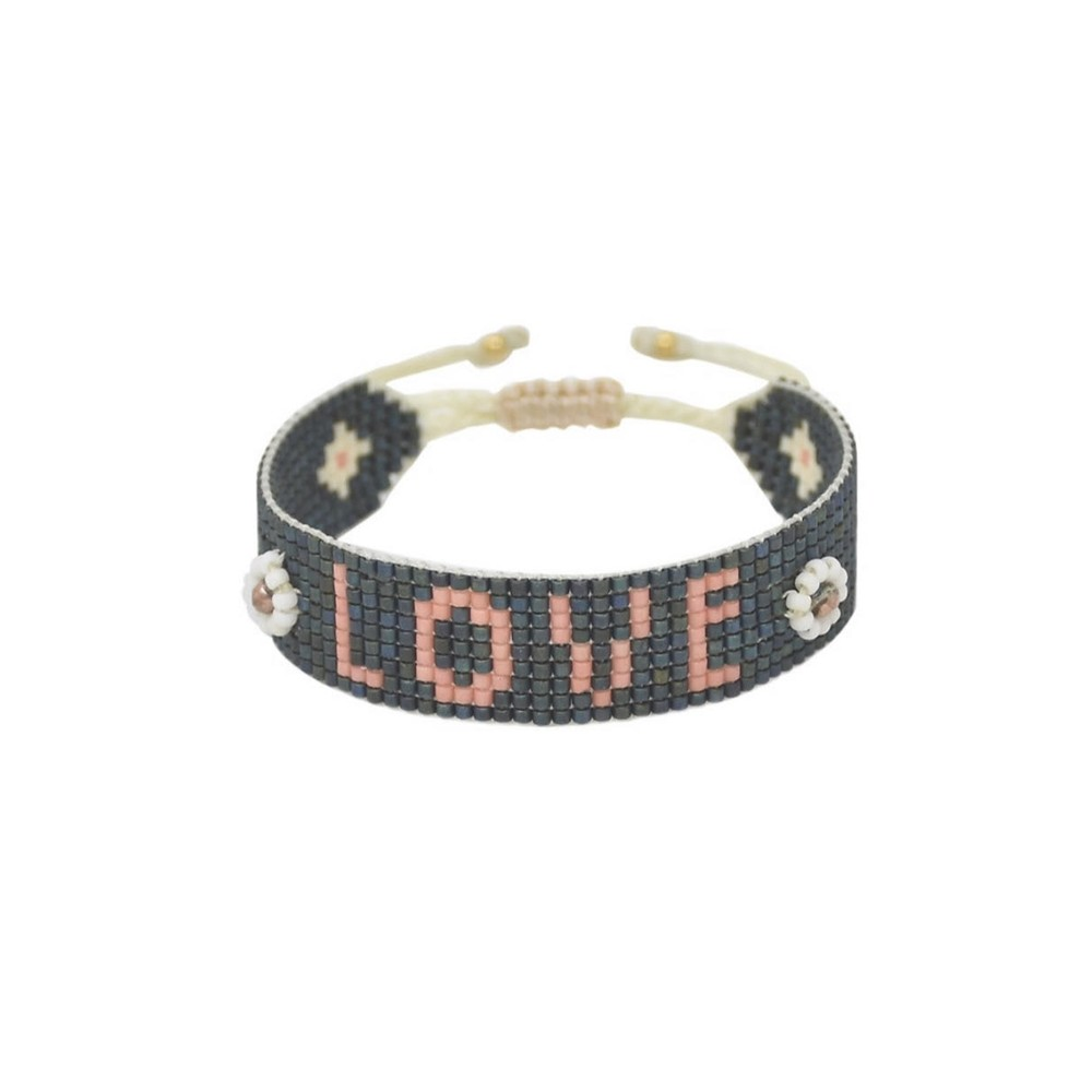 Exclusive Love Beaded Bracelet - Black & Pink
