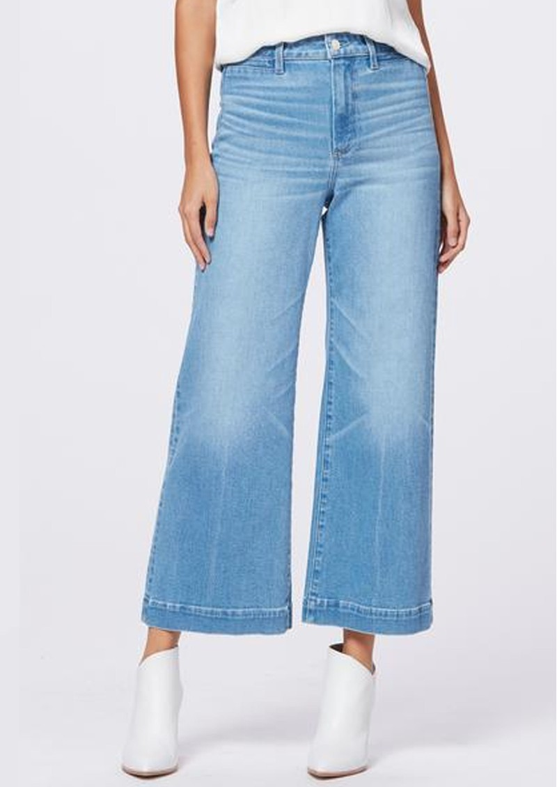 Paige Denim Anessa High Rise Cropped Wide Leg Exposed Button Front Jeans - Folk main image