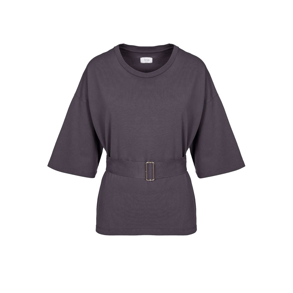 Elsa Cotton Belted Top - Charcoal