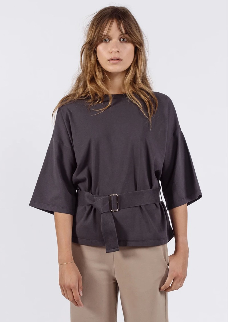 AME ANTWERP Elsa Cotton Belted Top - Charcoal main image
