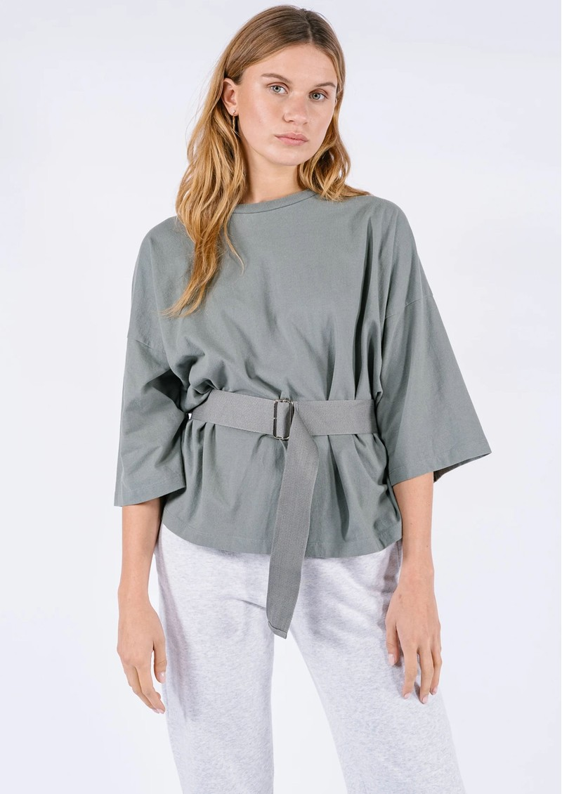 AME ANTWERP Elsa Cotton Belted Top - Green main image