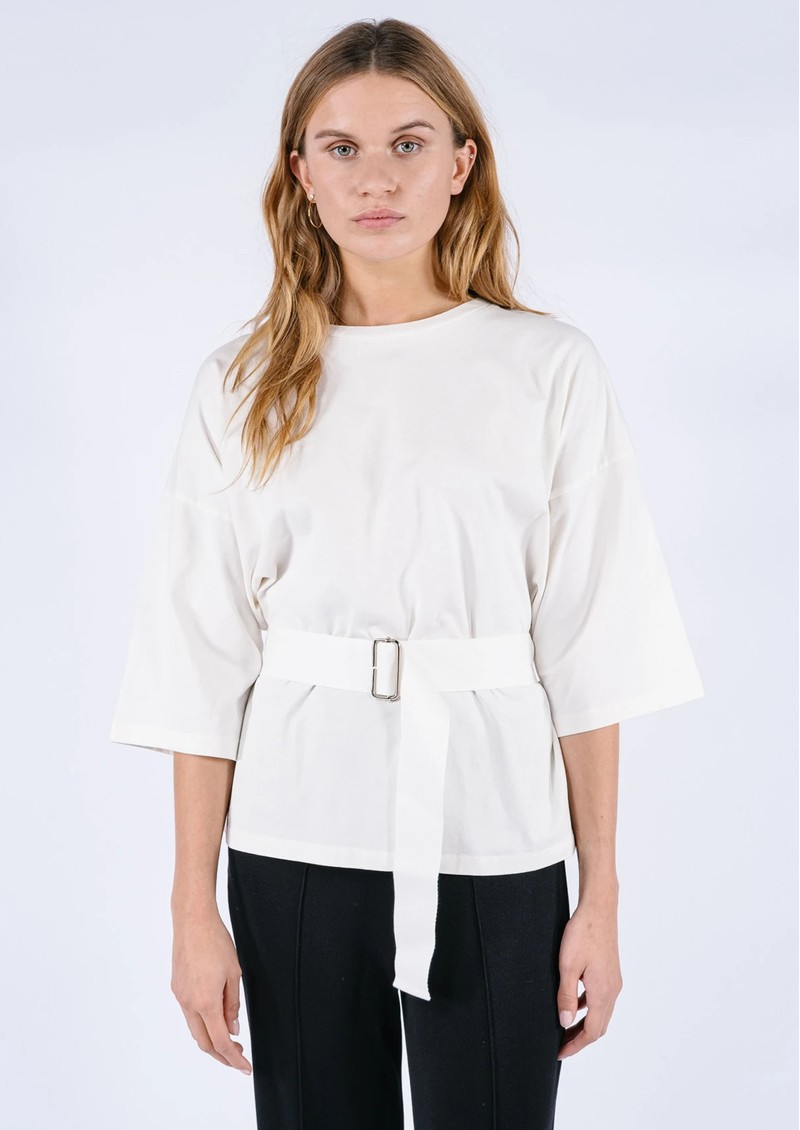 AME ANTWERP Elsa Cotton Belted Top - White main image