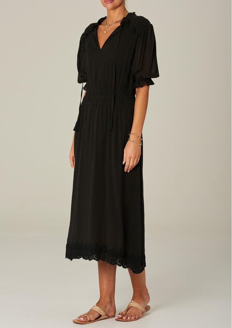 M.A.B.E Ines Midi Cotton Dress - Faded Black main image