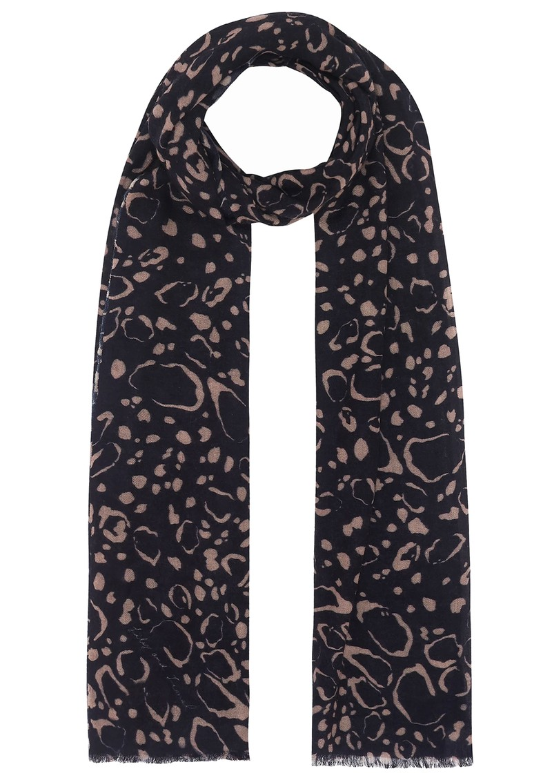 Lily and Lionel Cashmere Scarf - Navy Ocelot main image
