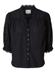 LOLLYS LAUNDRY Charlie Cotton Top - Washed Black