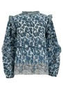 Timotee Ruffle Sleeve Cotton Blouse - Blue Quitana additional image