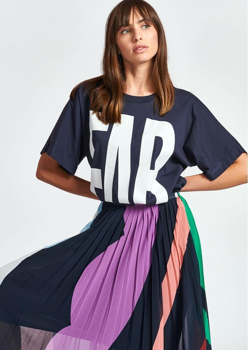 ESSENTIEL ANTWERP Zyad Slogan Organic Cotton T-shirt - Parisian Night main image