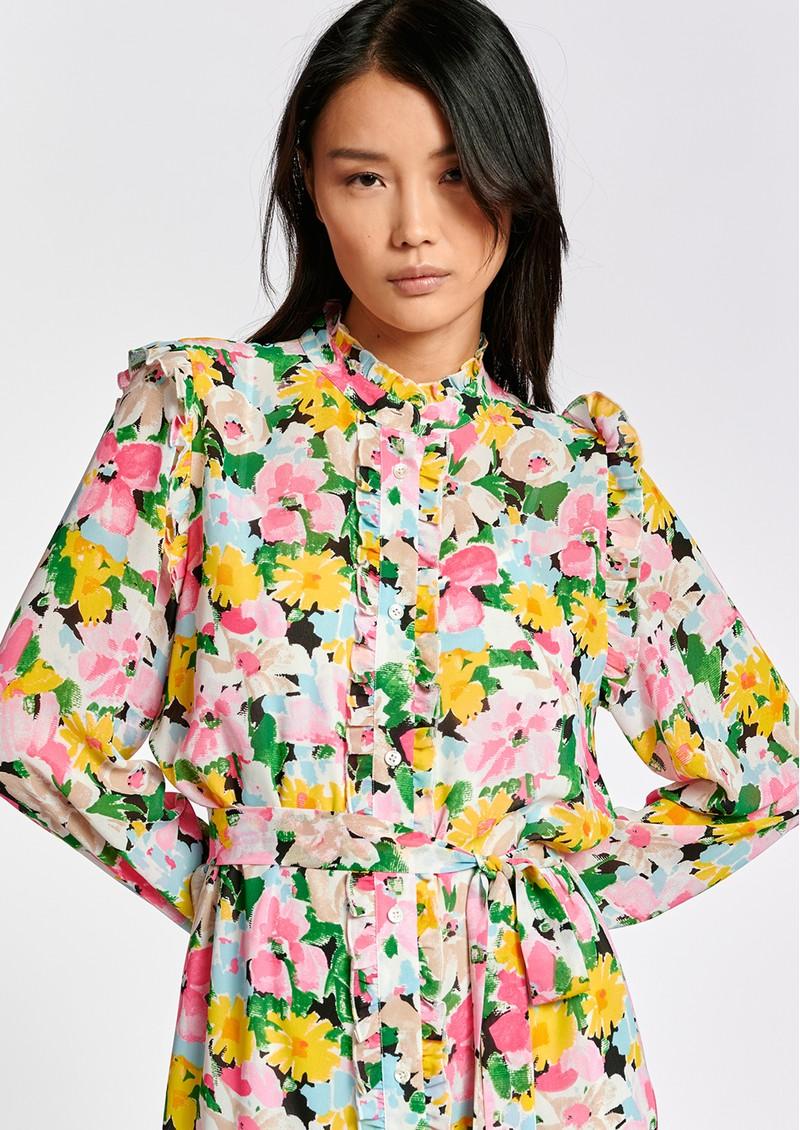 ESSENTIEL ANTWERP Zider Floral Ruffle Shirt Dress - Ballerina main image