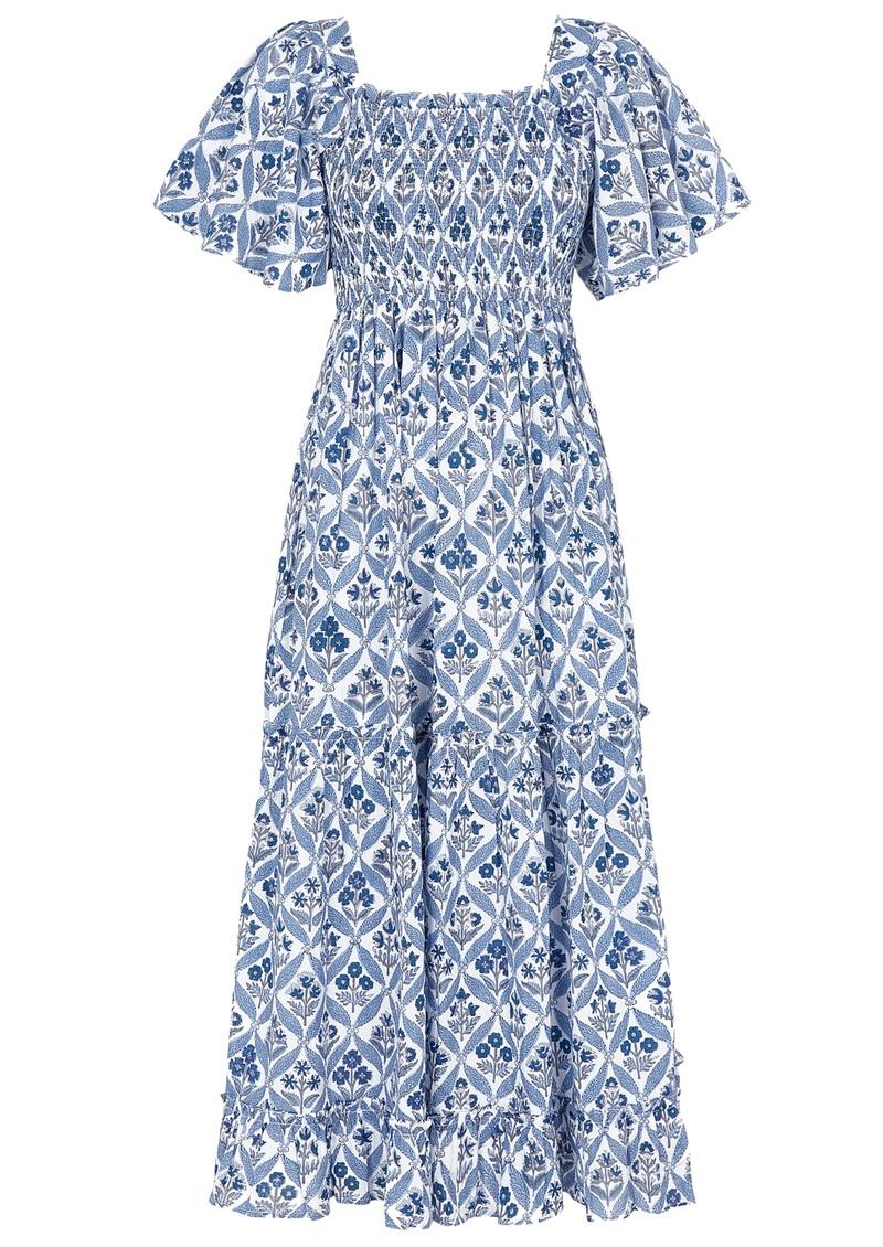 PINK CITY PRINTS Lolita Organic Cotton Dress - Sky Trellis main image