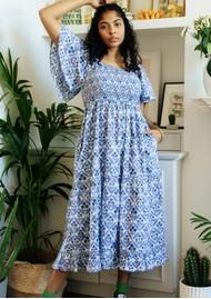 PINK CITY PRINTS Lolita Organic Cotton Dress - Sky Trellis