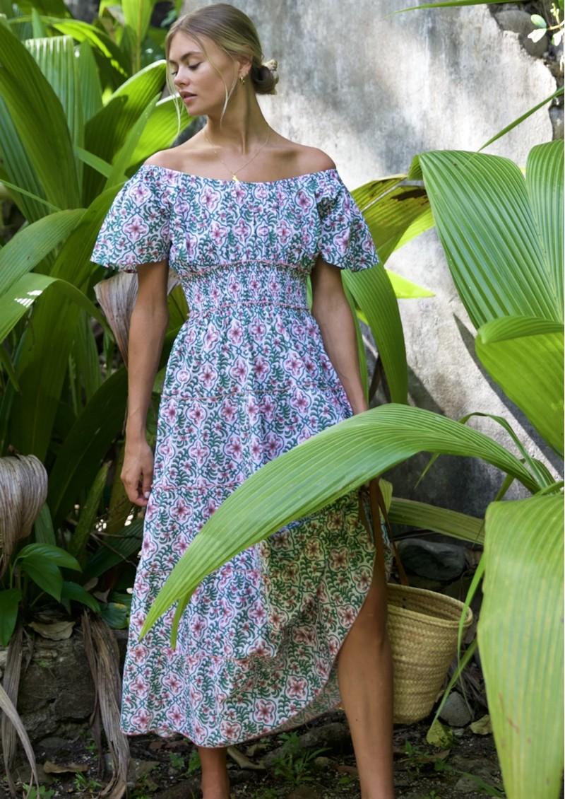 PINK CITY PRINTS Rah Rah Spanish Organic Cotton Dress - Retro Blush main image