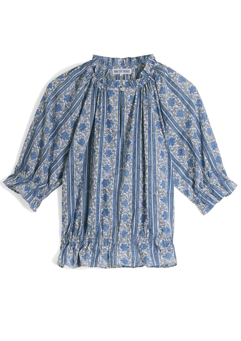 PINK CITY PRINTS Beatrice Organic Cotton Blouse - Sky Meadow main image