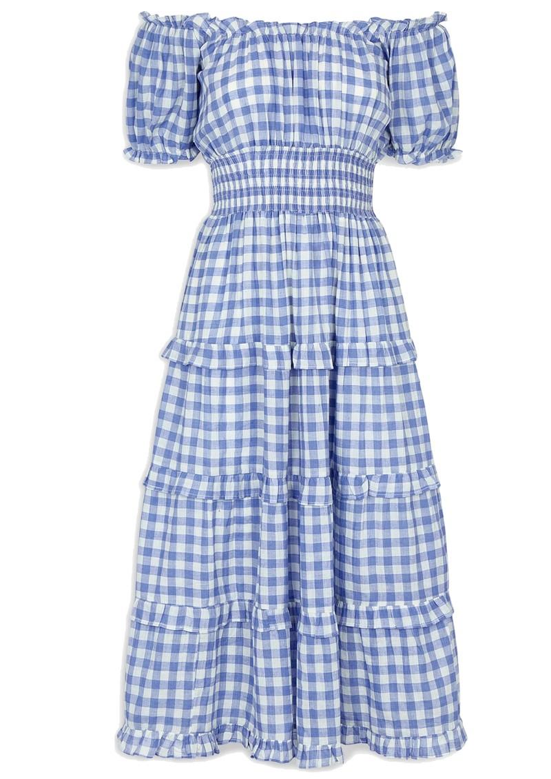PINK CITY PRINTS Rah Rah Mid Organic Cotton Dress - Cornflower Gingham main image
