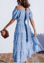 PINK CITY PRINTS Rah Rah Mid Organic Cotton Dress - Cornflower Gingham