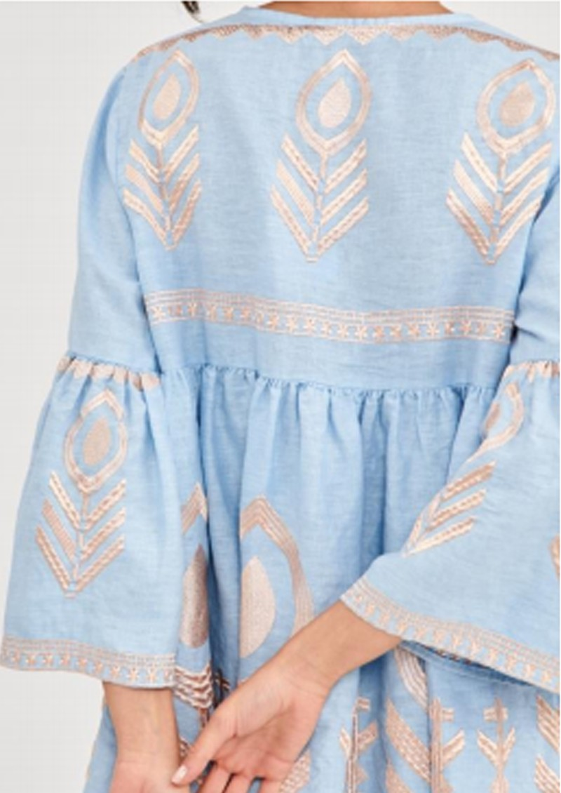 KORI Bell Sleeve Linen Embroidered Dress - Blue & Pink main image