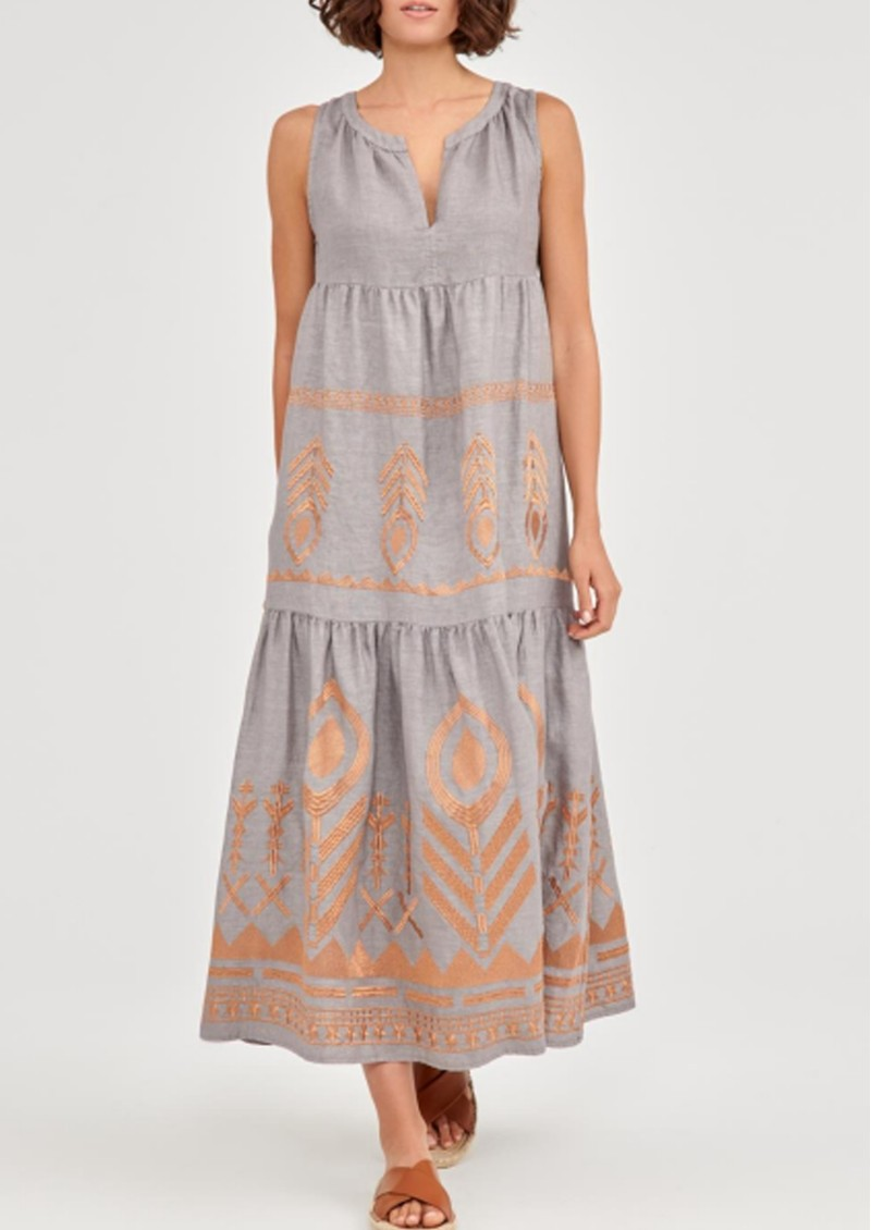 KORI Midi Embroidered Linen Dress - Grey & Bronze main image