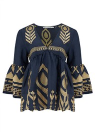 KORI Bell Sleeve Embroidered  Top - Navy & Gold