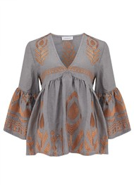 KORI Bell Sleeve Embroidered Top - Grey & Bronze