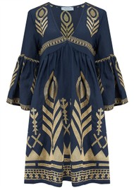 KORI Bell Sleeve Linen Embroidered Dress - Navy & Gold