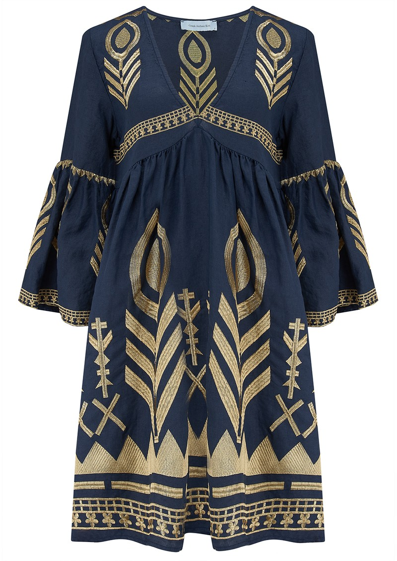 KORI Bell Sleeve Linen Embroidered Dress - Navy & Gold main image