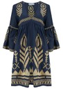 Bell Sleeve Linen Embroidered Dress - Navy & Gold additional image