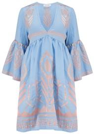KORI Bell Sleeve Linen Embroidered Dress - Blue & Pink