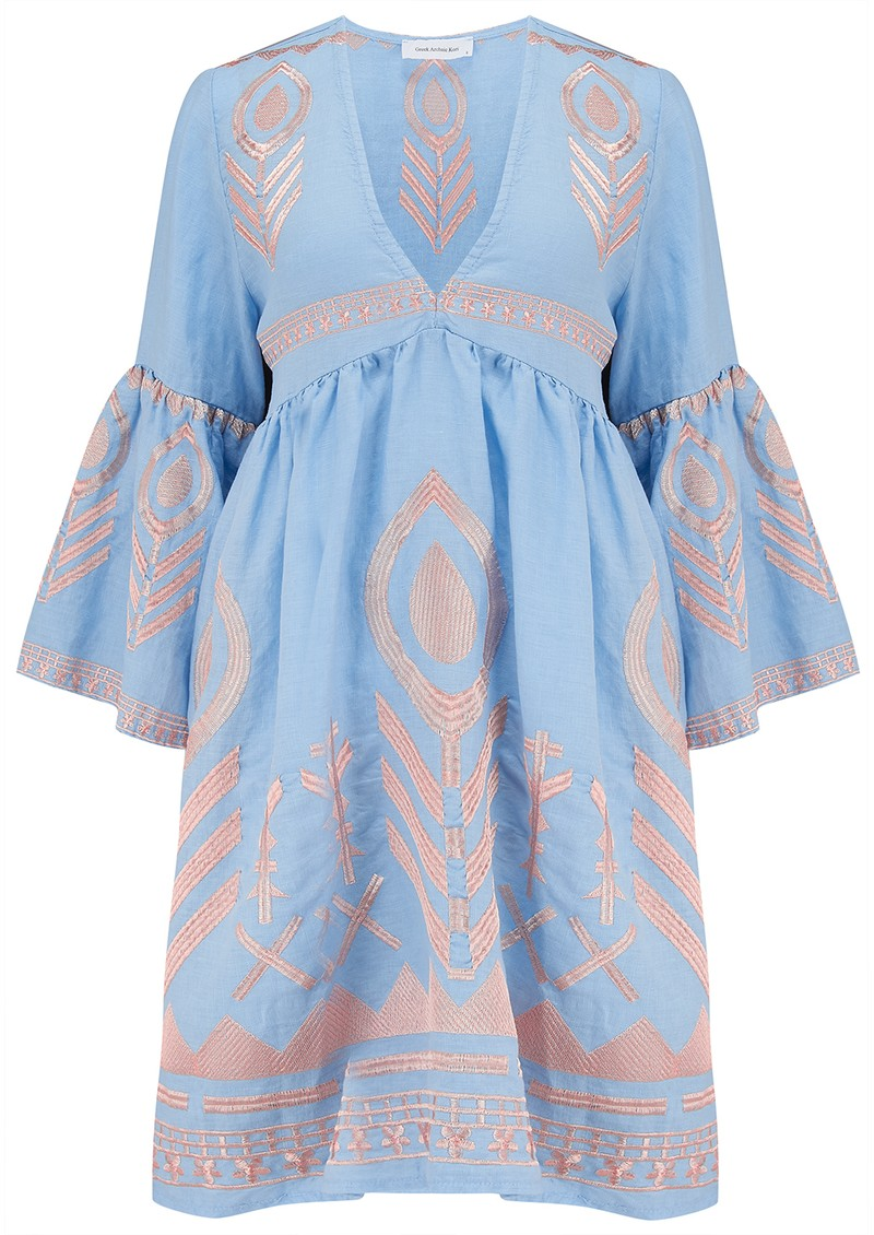 Bell Sleeve Linen Embroidered Dress - Blue & Pink main image
