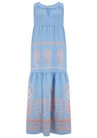 KORI Midi Embroidered Linen Dress - Blue & Pink