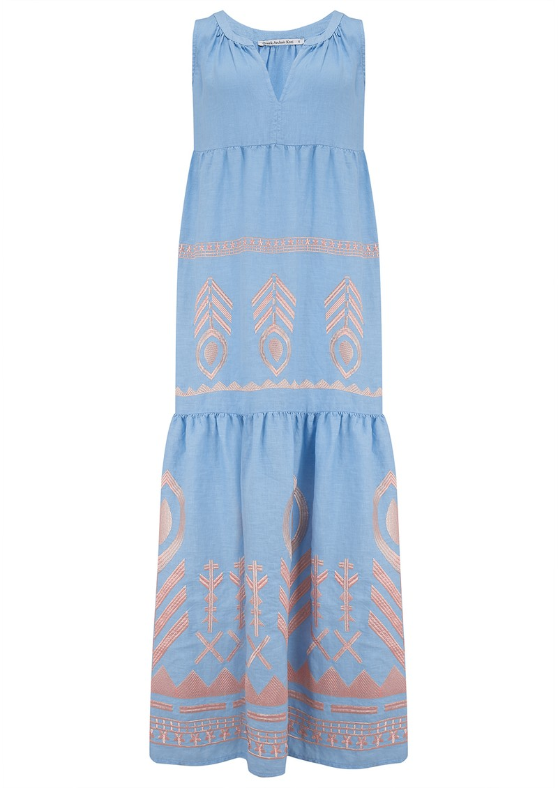 KORI Midi Embroidered Linen Dress - Blue & Pink main image