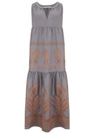 KORI Midi Embroidered Linen Dress - Grey & Bronze