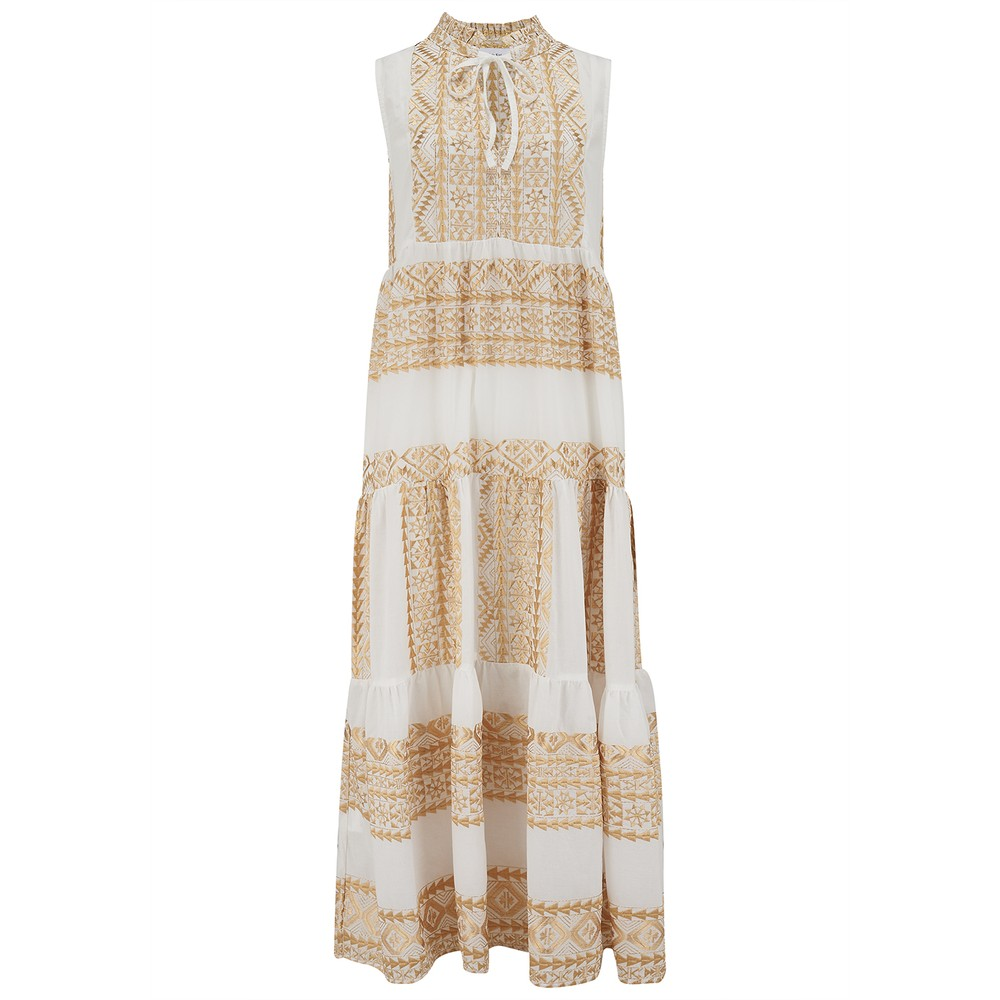 Long Embroidered Sleeveless Cotton Dress - White & Gold